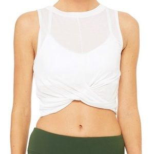 NWT ALO YOGA WHITE COVER TANK CROP TOP TWIAT FRONT